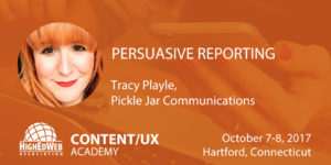 Persuasive reporting with Tracy Playle